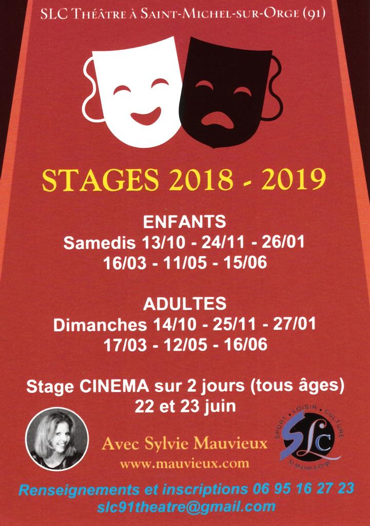 Stages 2018-2019 - Enfants - Adultes - Stage Cinéma - Sylvie Mauvieux - SLC Saint-Michel-sur-Orge