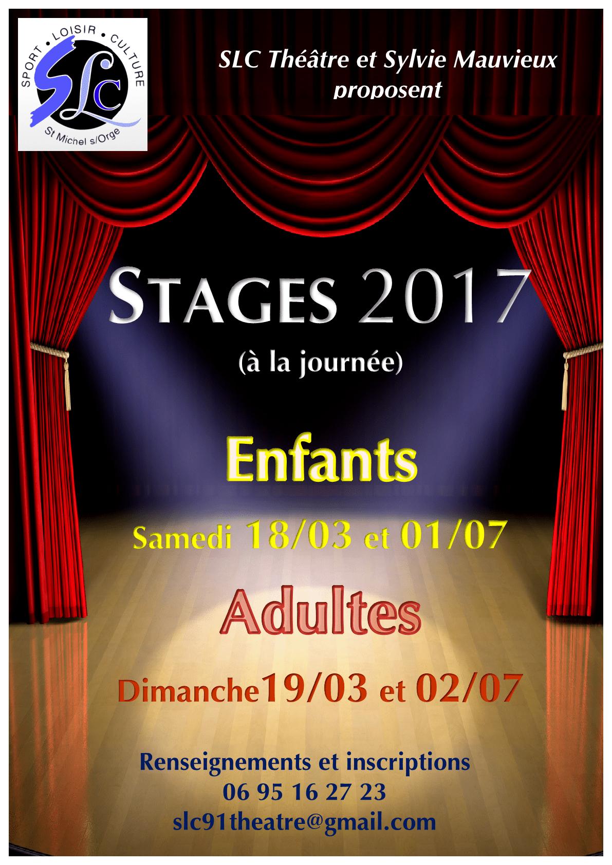 Stage de Théâtre enfants et adultes avec l'association SLC (Mars et Juillet 2017)