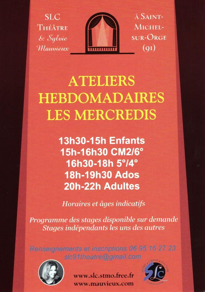 Ateliers hebdomadaires les mercredi - 2018-2019 - Enfants - CM2 à la 6ème - 5ème - 4ème - Ados - Adultes - Sylvie Mauvieux - SLC Saint-Michel-sur-Orge